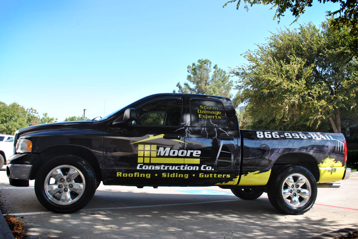 Moore Construction 2005 Dodge Ram Partial Wrap Car Wrap City
