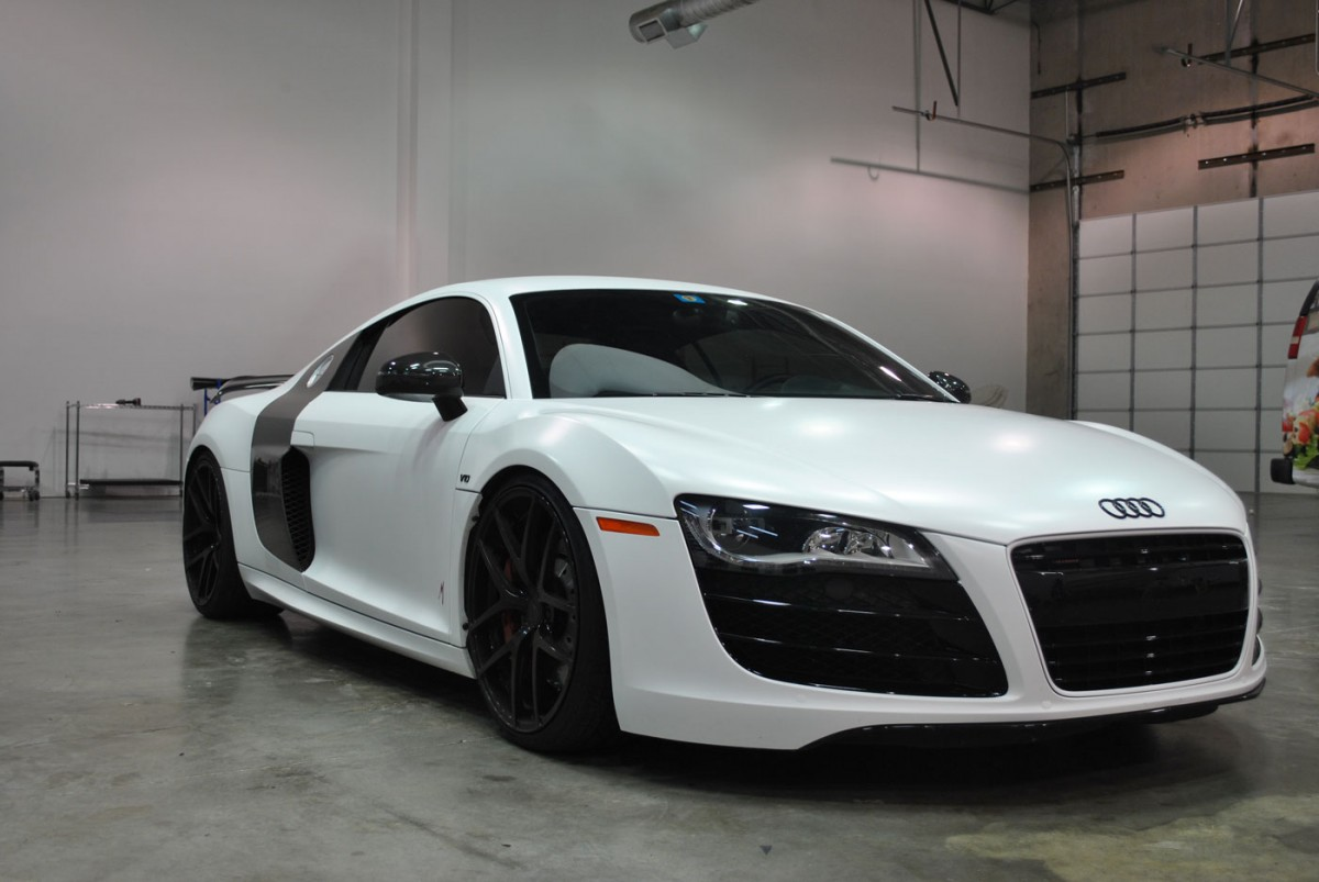 Black Audi R8 Color Change to Satin White | Car Wrap City