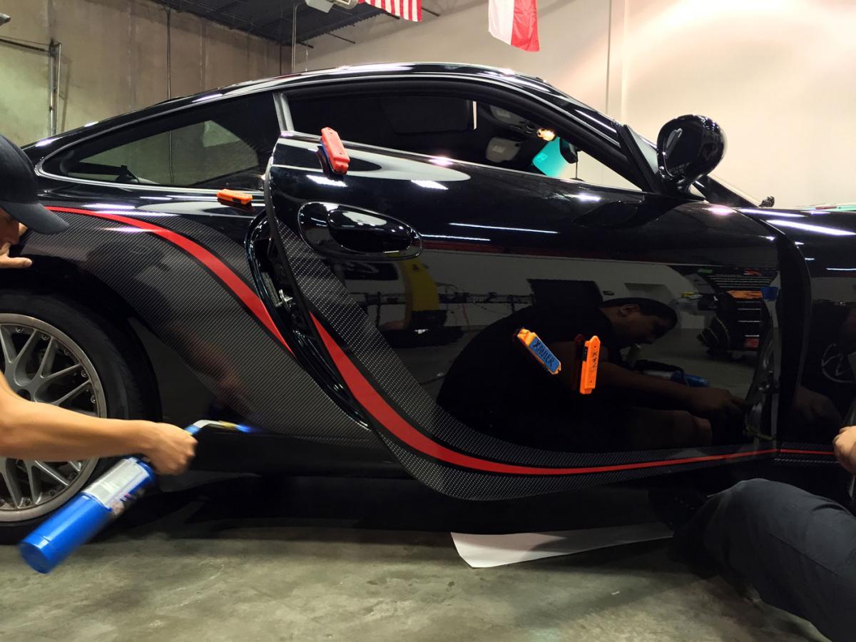 Porsche Carrera With Custom Carbon Fiber Red Vinyl