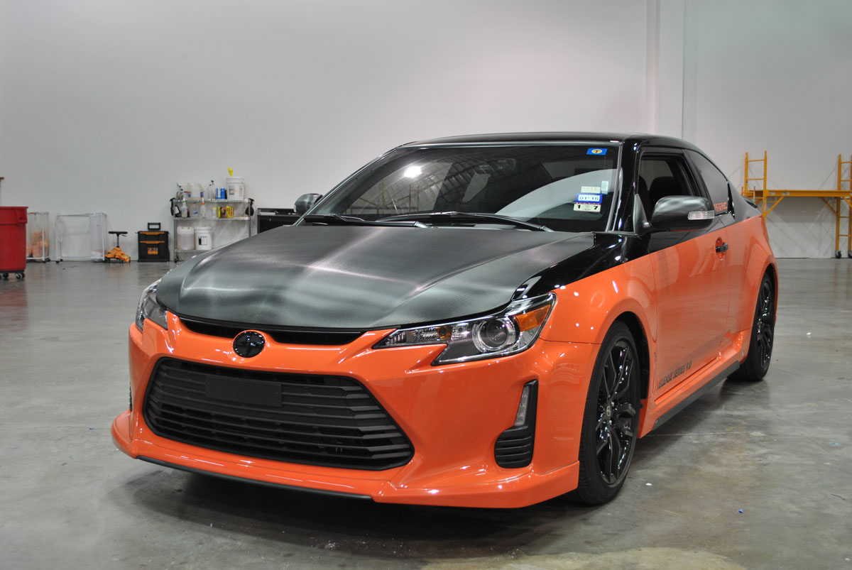 scion tc release series 9 0 dressed in black carbon fiber car wrap city. Black Bedroom Furniture Sets. Home Design Ideas