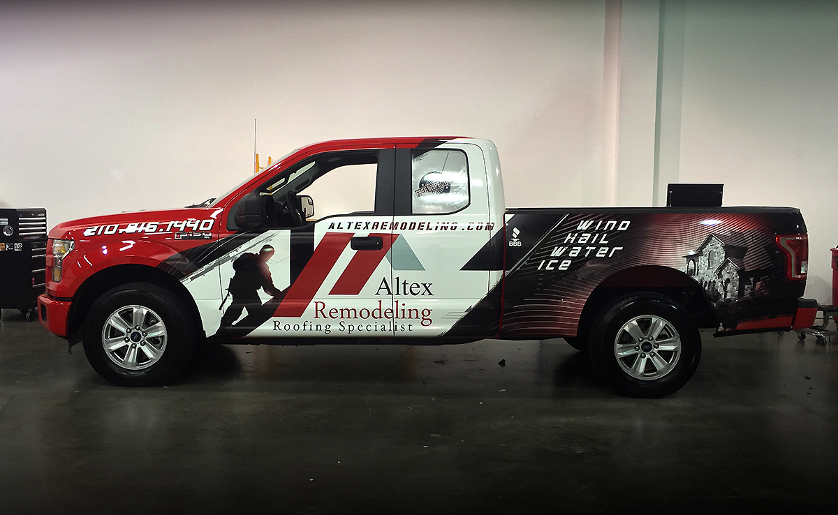 Roofing Vehicle Wrap : Altex remodeling and roofing ford f truck partial wrap