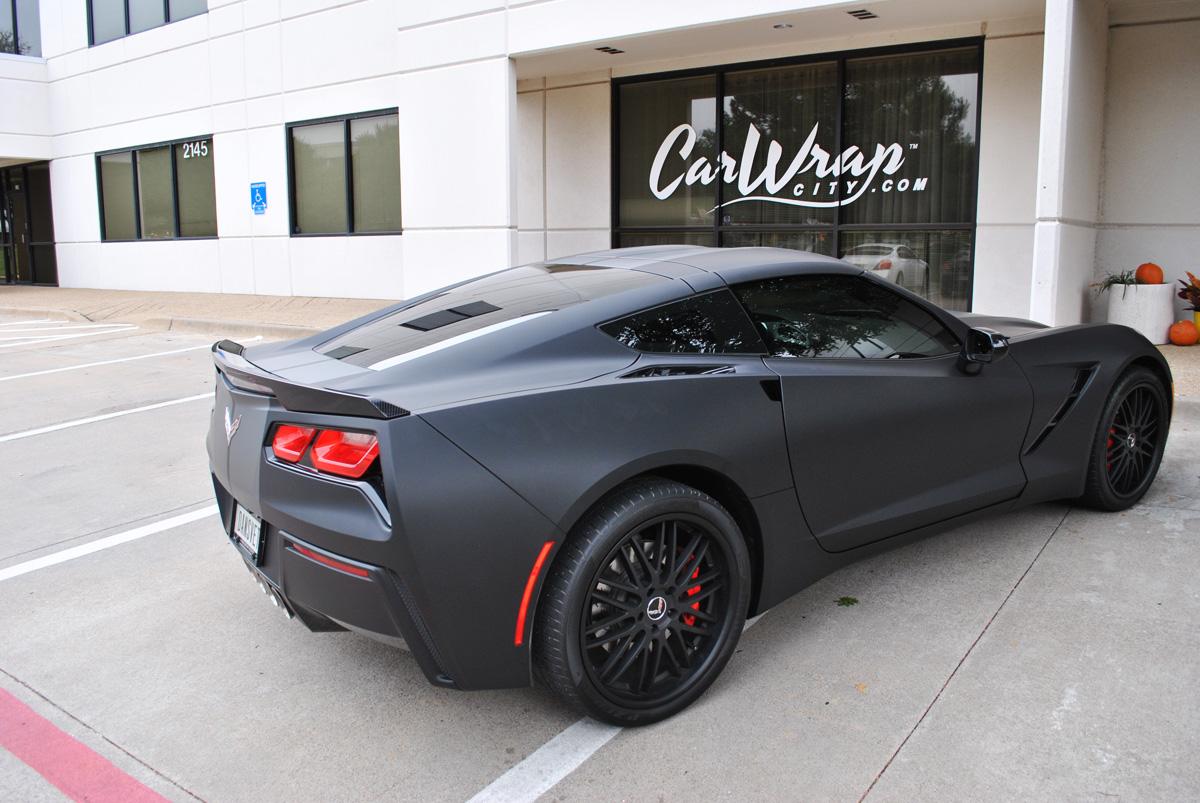 2014 corvette stingray matte black color change wrap with matte