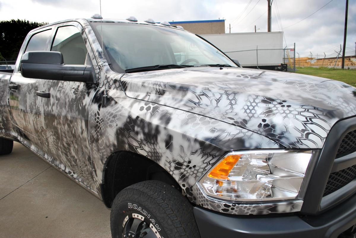 Dodge Ram 3500 Silver Metallic Camo Wrap Car Wrap City
