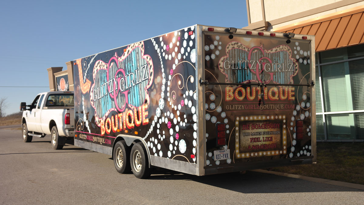 Full Print Wrap Designed for Glitzy Girlz Boutique s 26-Foot Trailer ... a9fdc65fa8aa