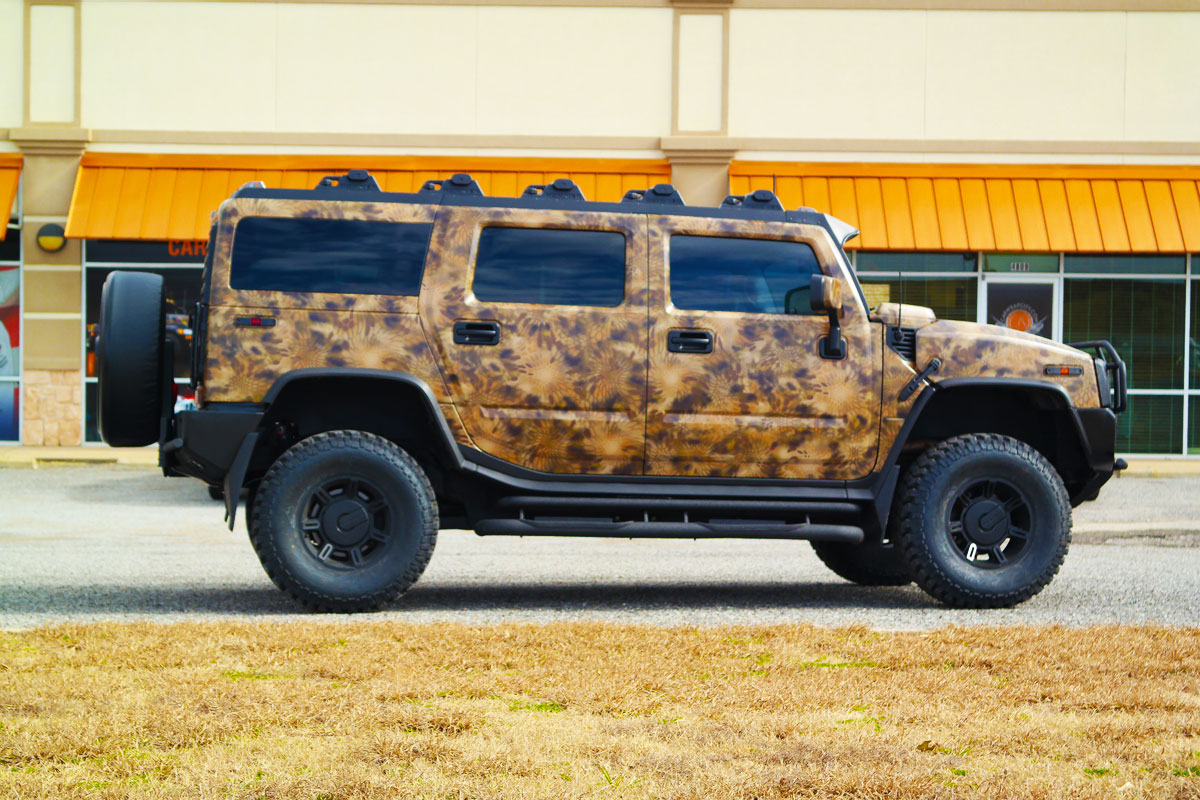 hummer h2 custom camo wrap car wrap city. Black Bedroom Furniture Sets. Home Design Ideas
