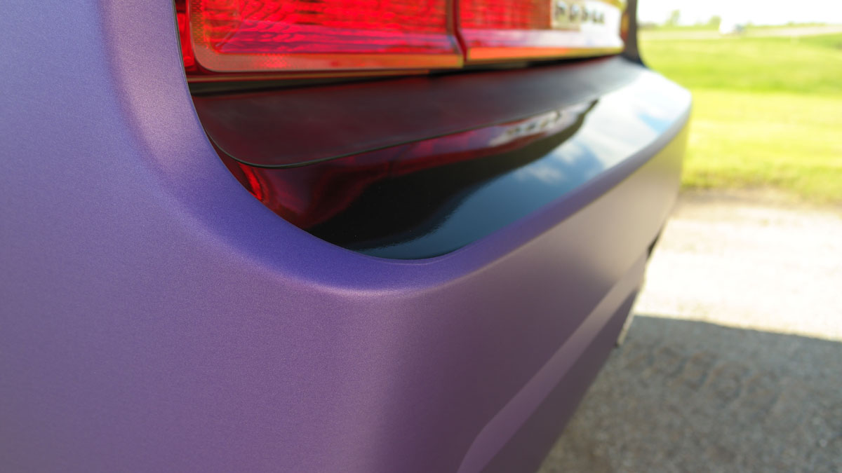 Matte Purple Charger Wrap Back Bumper on 2009 Dodge Challenger