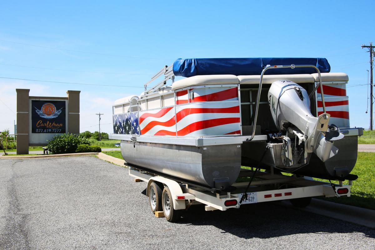 Old Glory Pontoon Boat Wrap   Car Wrap City