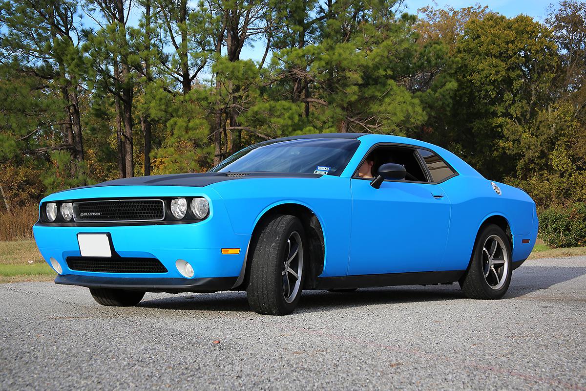 Matte Blue Challenger Color Change With Hood Accent Car Wrap City