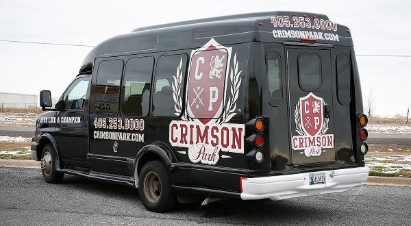 Crimson Park shuttle bus wrap by Car Wrap City