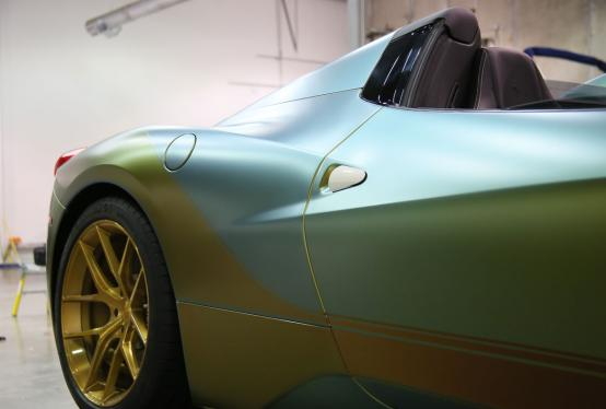 We wrapped this Ferrari 458 Spider using a combination of ColorFlow Fresh Spring and Rising Sun Vinyl.