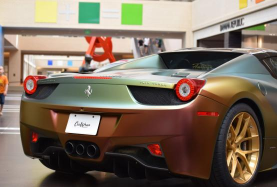 The Ferrari ColorFlow Wrap was displayed at the 2016 NorthPark Autoshow