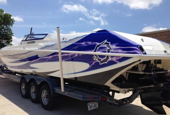Fountain boat wrap custom design